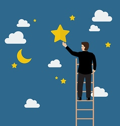 Businessman on the ladder trying to catch the star vector image