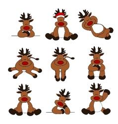 cute christmas reindeer collec vector image vector image