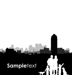 family and dogs cityscape vector image