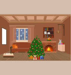 living room interior holiday design with vector image vector image