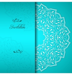 Turquoise elegant invitation with floral ornament vector image