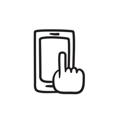 Finger pointing at smart phone sketch icon vector