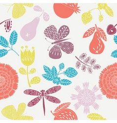floral fruits pattern vector image vector image