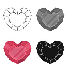 heart-shaped gemstone icon in cartoon style vector image
