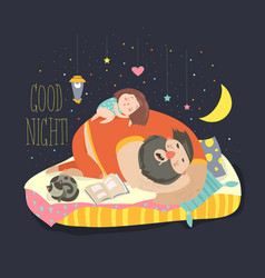 little girl daughter and her dad sleeping vector image vector image