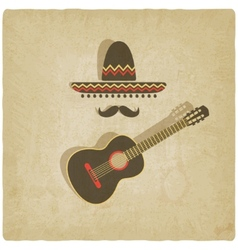 Mexican sombrero and guitar old background vector image vector image