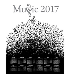 Music Typographic 2017 calendar vector image vector image