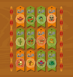 set of cute various mexican icons tags vector image vector image