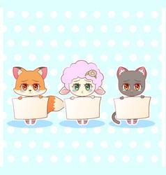 Sweet kitty little cute kawaii anime cartoon sad vector