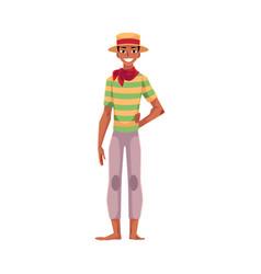 brazilian man in straw hat traditional festa vector image vector image