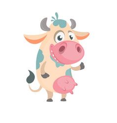 Cartoon cute white spotted cow vector