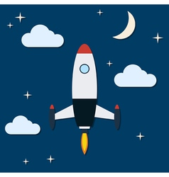 Cartoon rocket launch vector image