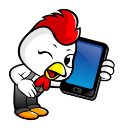 chicken character has smart phone conversation vector image