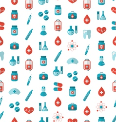 Seamless Texture with Flat Medical Icons Endless vector image vector image