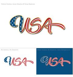 USA flag caligraphic text vector image vector image