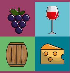 glass wine grape barrel and cheese icon vector image vector image