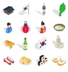 Republic Of Korea icons set isometric 3d ctyle vector image