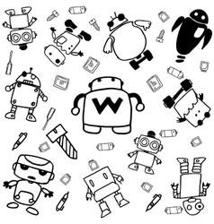 set of robot doodle art vector image