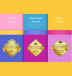 100 quality premium brand quality best labels vector image