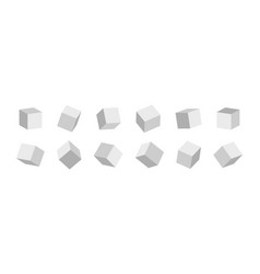 3d cube 3d box in front white cubic blocks square vector image