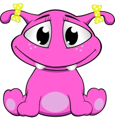 A cute pink monster vector