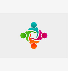 abstract people logo - business vector image