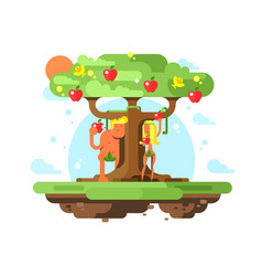 Adam and eve near apple tree vector