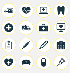 Antibiotic icons set collection of bus retreat vector