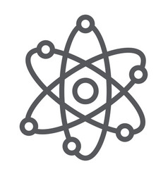 atom structure line icon scientific and nuclear vector image