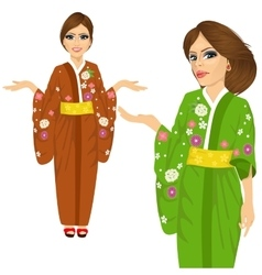 attractive japanese woman wearing kimono vector image