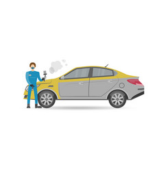 Auto mechanics in uniform car painting icon vector