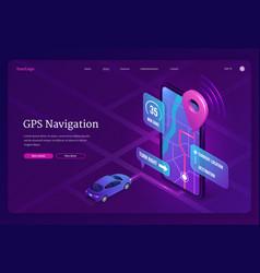banner gps navigation on smartphone vector image