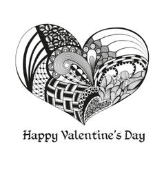 Black sketch valentine heart vector