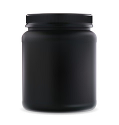 Black supplement jar protein sport 3d container vector