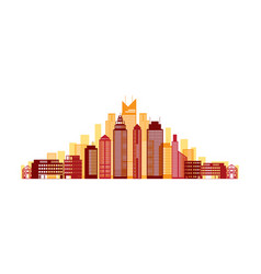 buildings and skyscrapers red background vector image