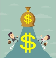 Businessman is runing to get the money vector
