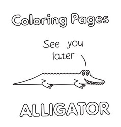 cartoon alligator coloring book vector image