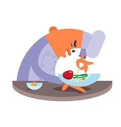 Cartoon chef carefully prepares steak vector image