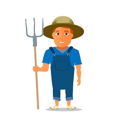 Cartoon Farmer Character with pitchfork vector image