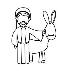 Cartoon joseph and donkey standing line image vector