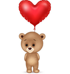 cartoon little bear holding red heart balloon vector image
