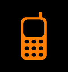 cell phone sign orange icon on black background vector image
