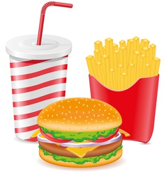 cheeseburger fries potato and paper cup with soda vector image