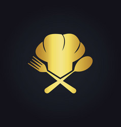Chef cook food gold logo vector