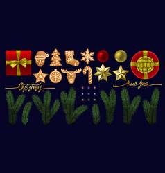 christmas and new year object set vector image