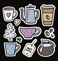 coffee big set handdrawn stickers vector image
