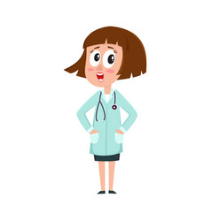 comic woman doctor character with bob haircut vector image