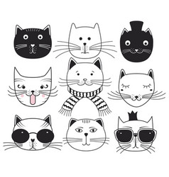Cute cat heads vector