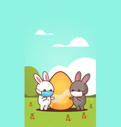 cute rabbits with egg wearing mask to prevent vector image