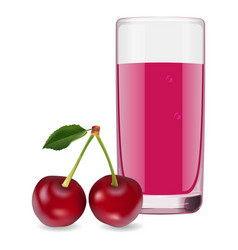 delicious juice from ripe cherry vector image